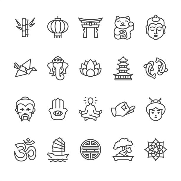 asien kultur-thema - gliederung-vektor-icons - meditation icon stock-grafiken, -clipart, -cartoons und -symbole