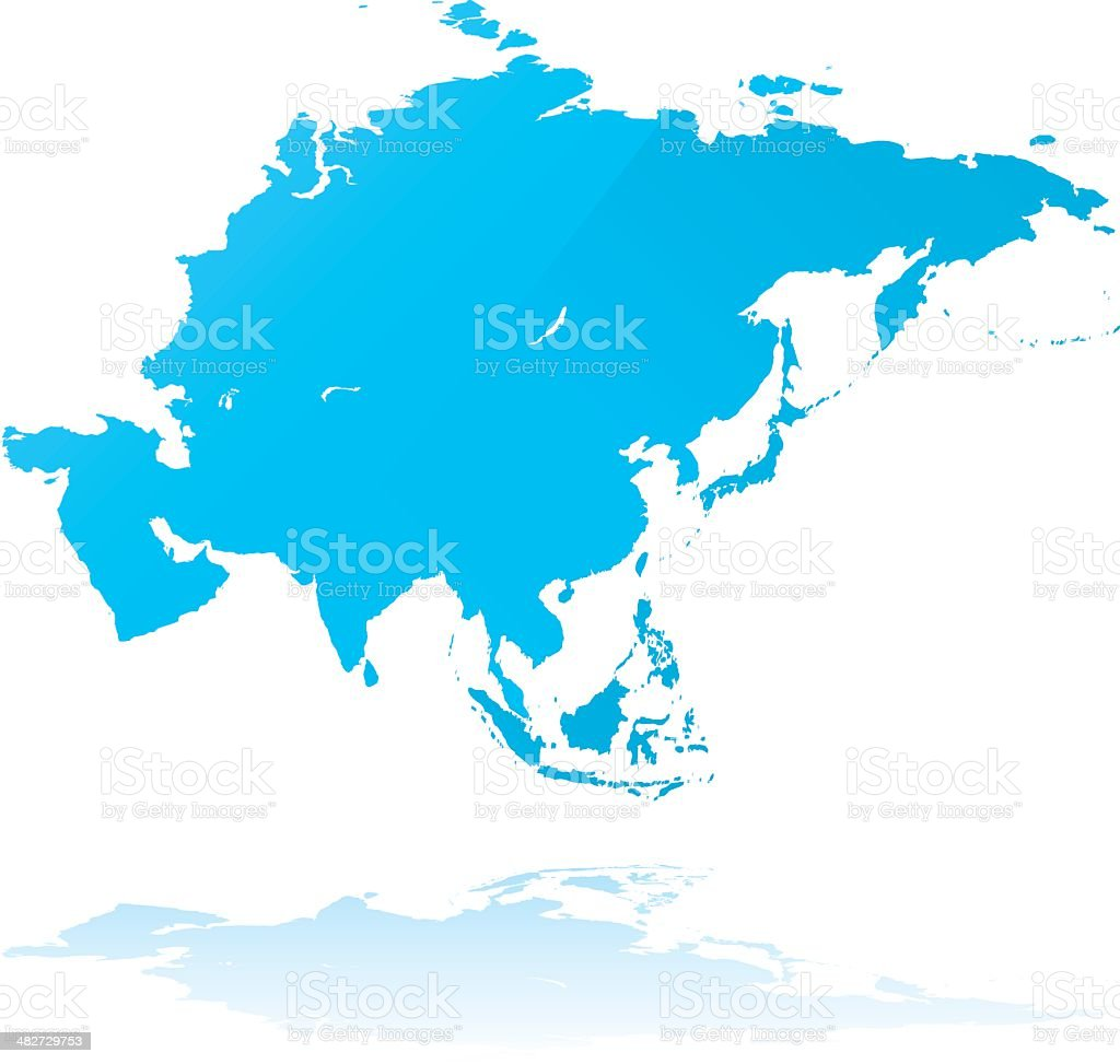 Asia detailed map grunge style vector art illustration