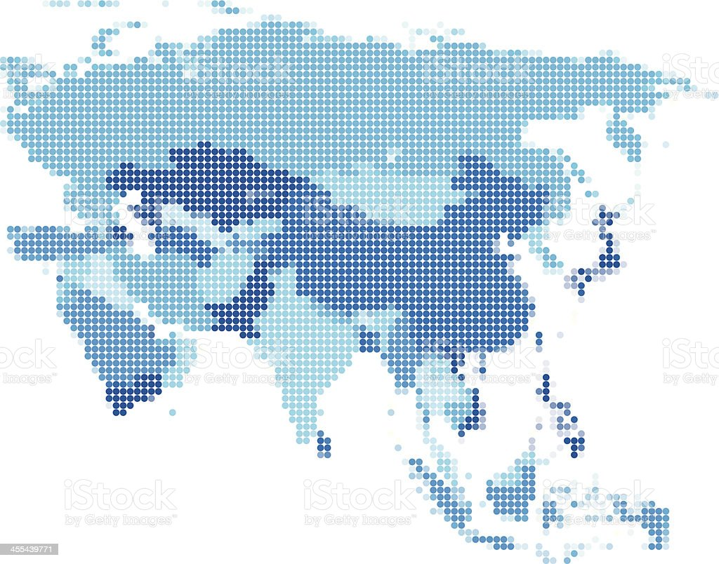 Asia dotted blue vector art illustration
