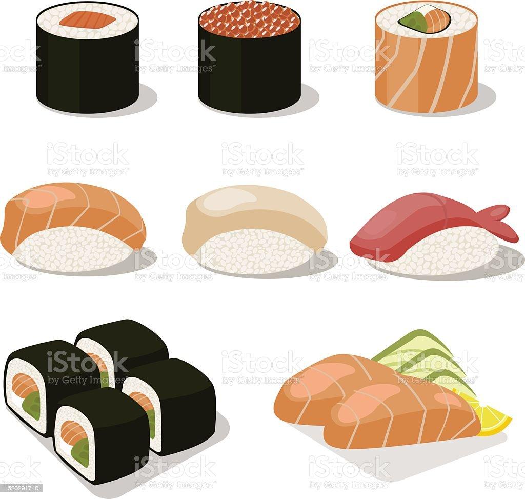 Asia conjunto de iconos de comida con rollos de sushi Sashimi. Plano medio - ilustración de arte vectorial