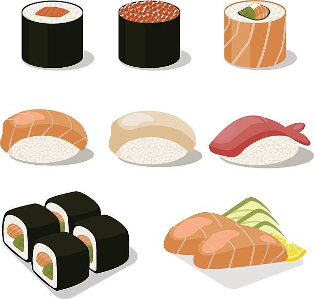 ilustrações, clipart, desenhos animados e ícones de ásia comida conjunto de ícones com sushis sashimi. apartamento ilustração - sushi