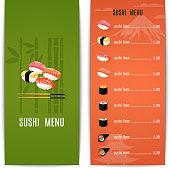 Asian food japanese restaurant menu design template with sushi vector illustration