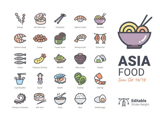 asia food-vektor-icons - austernschalen stock-grafiken, -clipart, -cartoons und -symbole