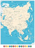 Asia highly detailed map and colored map pointers