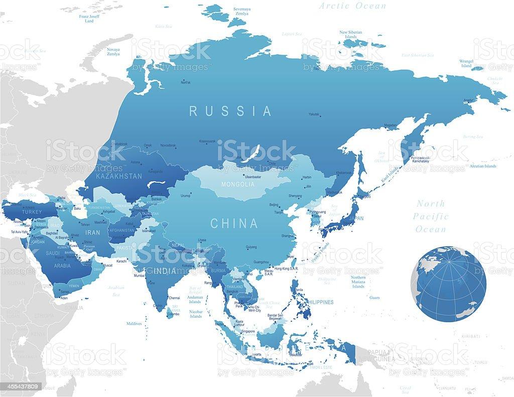 Ásia-altamente mapa detalhado - ilustração de arte em vetor