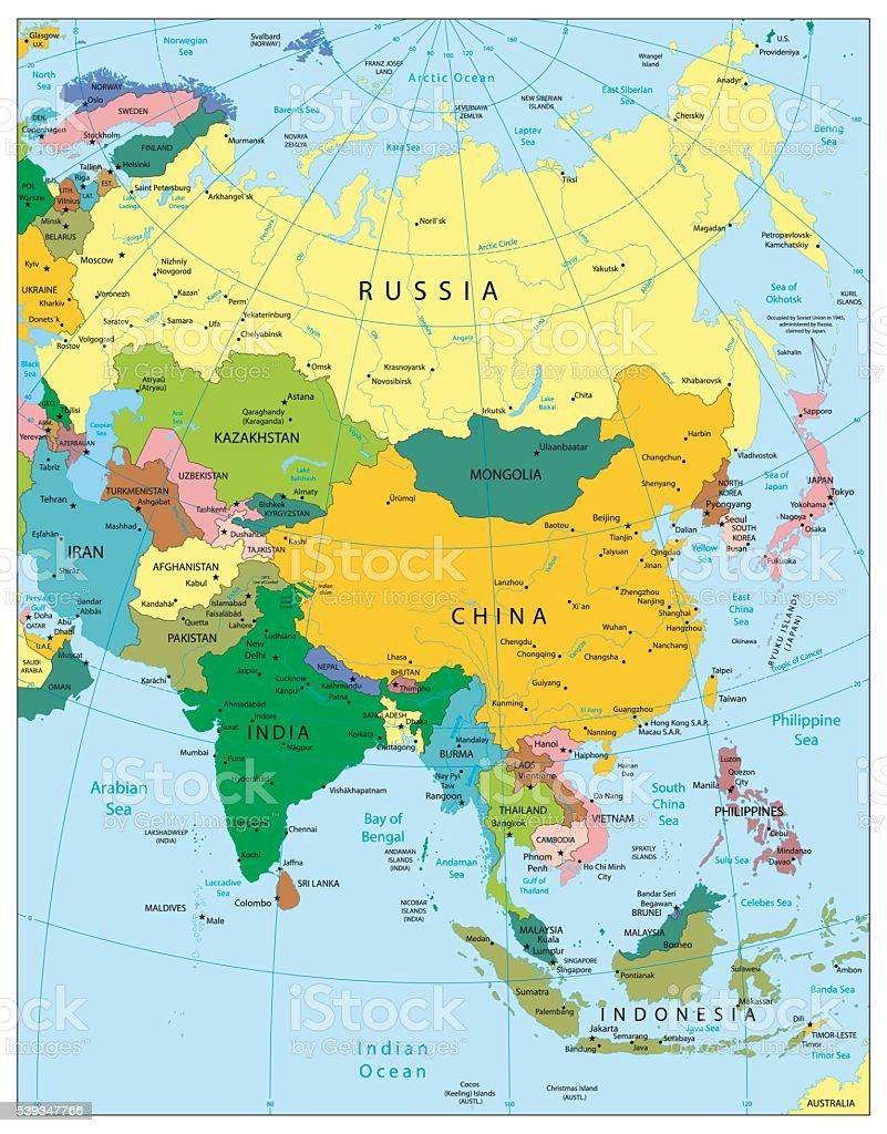 La Cartina Geografica Dell Asia.Altamente Dettagliata Mappa Politica Dellasia Immagini