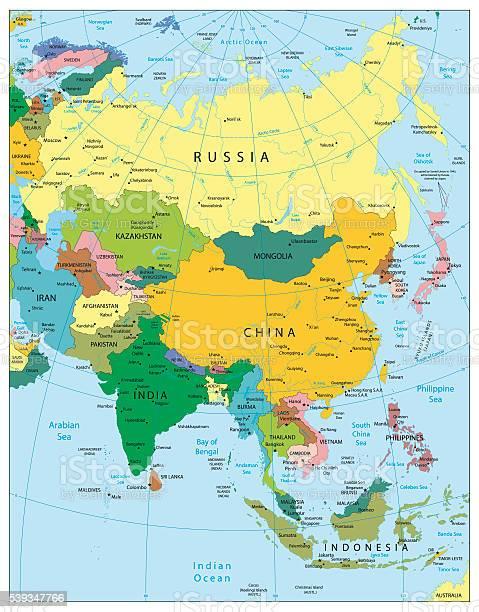 Cartina Politica Asia.Ilustracion De Asia Altamente Detallada Mapa Politico Y Mas Vectores Libres De Derechos De Aprender Istock