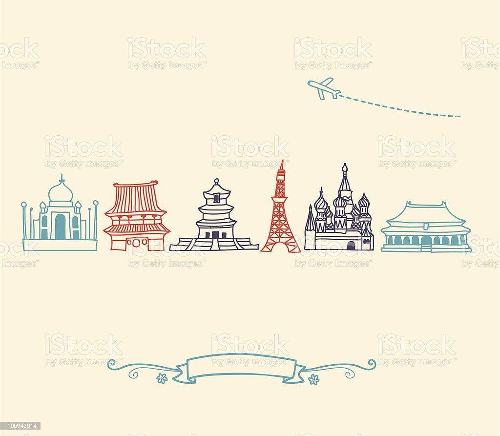 Asia iconos, lugares y destinos turísticos de la ciudad - ilustración de arte vectorial