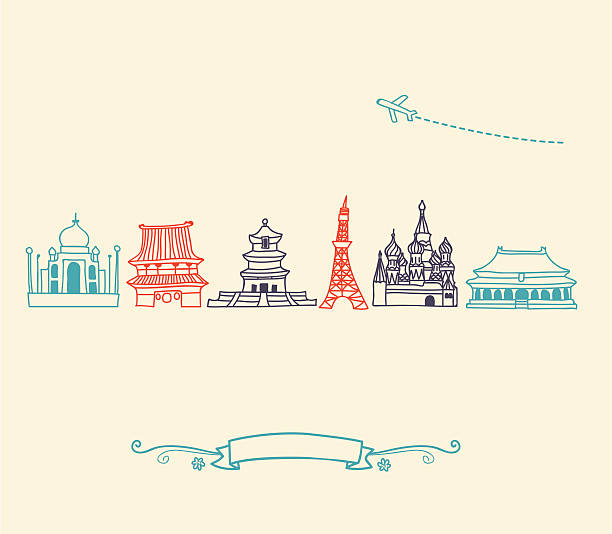 Asia Icons, landmarks and travel destinations cityscape set Asia landmarks and travel destinations cityscape stencil set for the world travelers. Featuring:  merlion statue stock illustrations