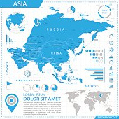 Asia - infographic map - Illustration