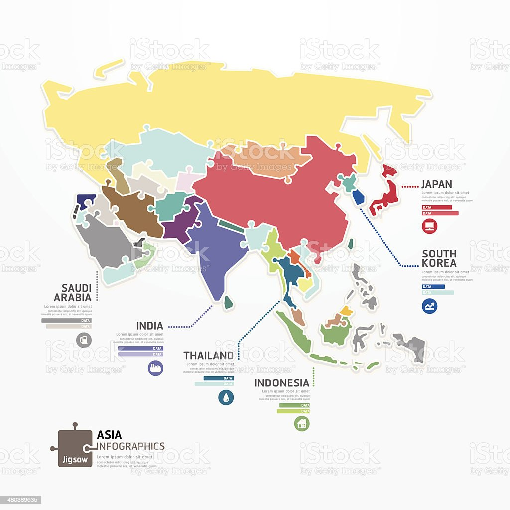 Asia Infographic Map Template jigsaw concept banner. vector art illustration