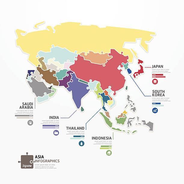 アジアのインフォグラフィックマップコンセプトのバナーテンプレートジグソーます。 - アジア地図点のイラスト素材/クリップアート素材/マンガ素材/アイコン素材