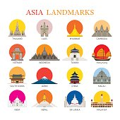 Asia Landmarks Architecture Building Icons Set