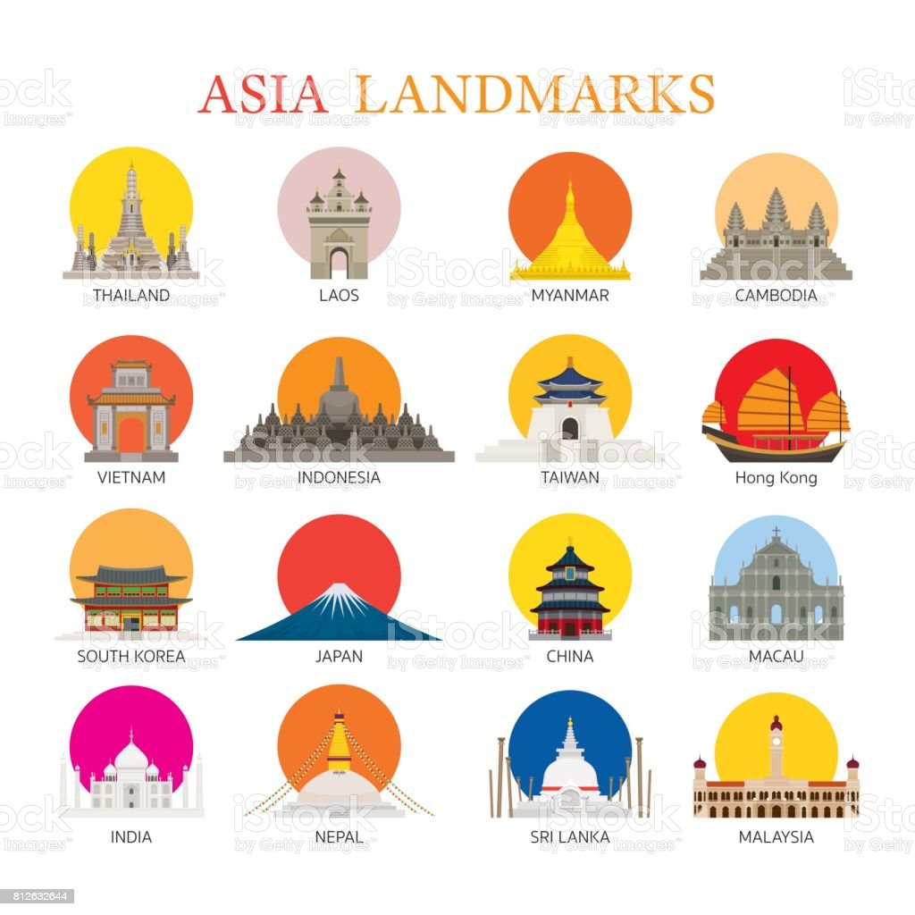 Asia Landmarks Architecture Building Icons Set vector art illustration