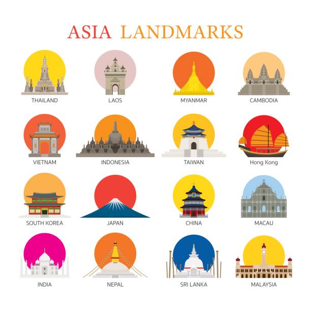 Asia Landmarks Architecture Building Icons Set Famous Place, Travel and Tourist Attraction indonesia stock illustrations