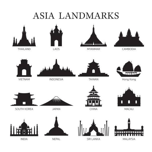 stockillustraties, clipart, cartoons en iconen met azië monumenten architectuur gebouw silhouet set - laos indochina