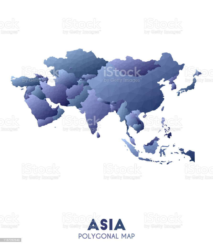 The Continent Of Asia Map.Asia Map Actual Low Poly Style Continent Map Stock Illustration