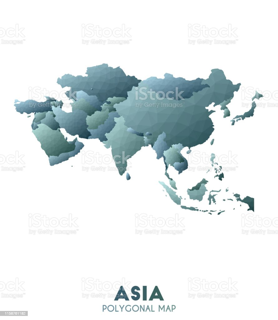 Asia Map Actual Low Poly Style Continent Map Stock ...