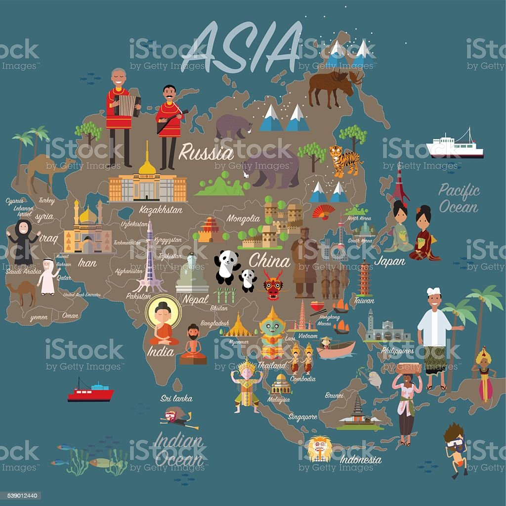 asia map and travel royalty free asia map and travel stock vector art