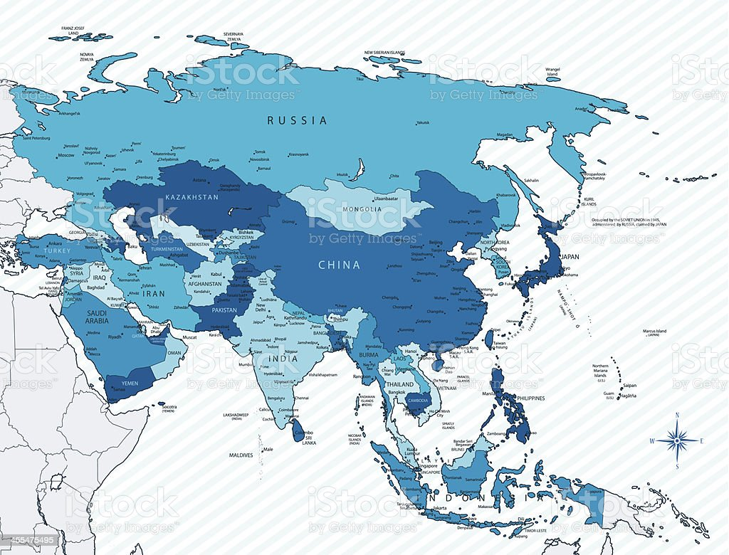 Asia map blue with countries and cities vector art illustration