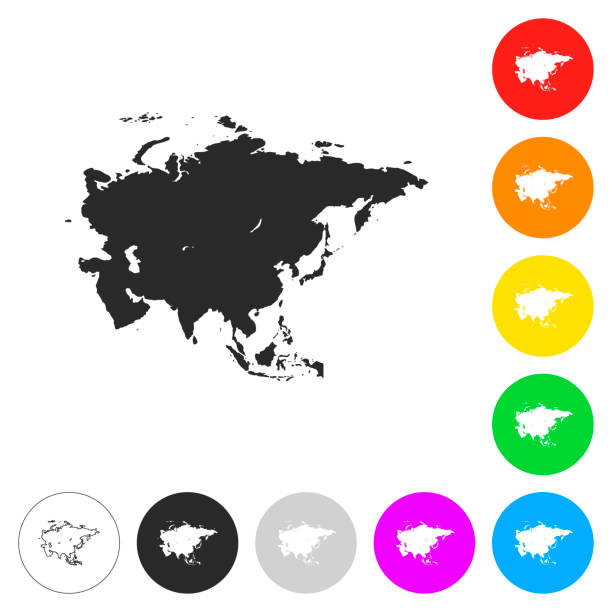 Asia map - Flat icons on different color buttons vector art illustration