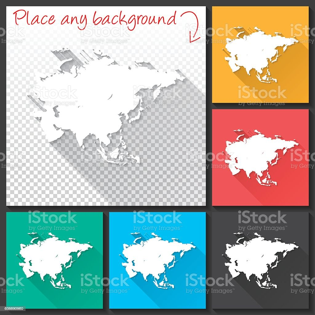 Asia Map for design, Long Shadow, Flat Design ベクターアートイラスト