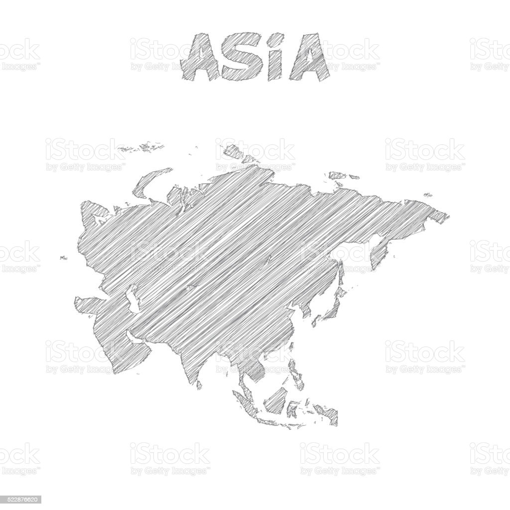 Image of: Asia Map Hand Drawn On White Background Stock Illustration Download Image Now Istock