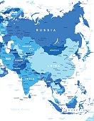 Asia map - illustration