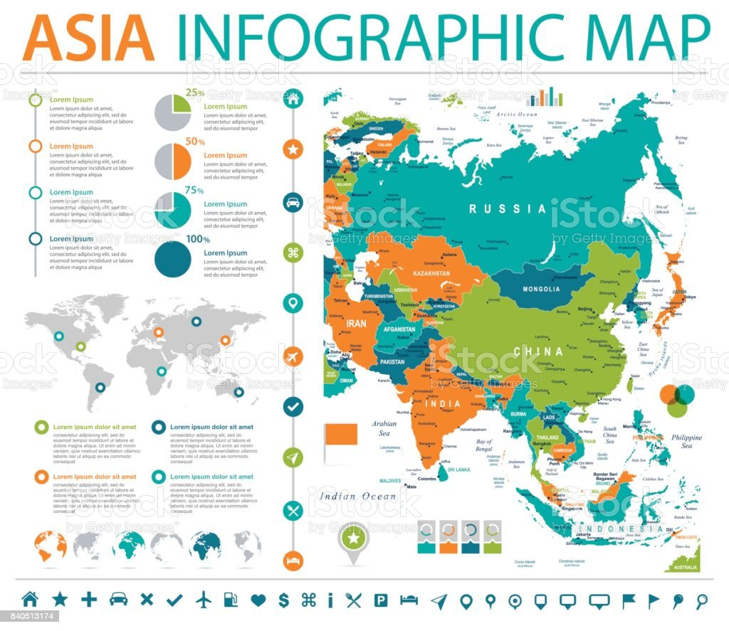 Asia Map - Info Graphic Vector Illustration