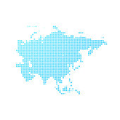 Map of Asia made with round blue dots on a blank background. Original mosaic illustration. Vector Illustration (EPS10, well layered and grouped). Easy to edit, manipulate, resize or colorize. Please do not hesitate to contact me if you have any questions, or need to customise the illustration. http://www.istockphoto.com/portfolio/bgblue