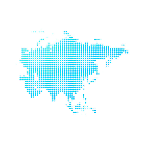 Asia map of blue dots on white background vector art illustration