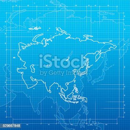 Asia map on blueprint background
