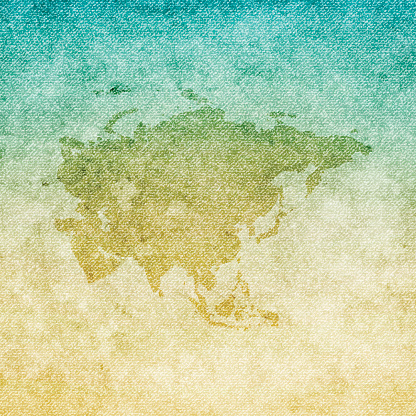 Asia Map on grunge Canvas Background