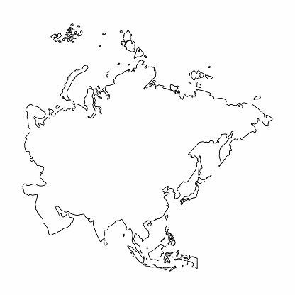 Asia Map Outline Graphic Freehand Drawing On White ...
