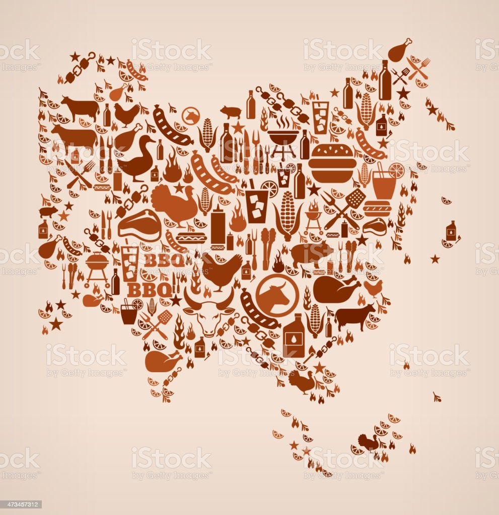 Asia map summer barbecue invitation vector background stock vector asia map summer barbecue invitation vector background royalty free asia map summer barbecue invitation vector stopboris Image collections