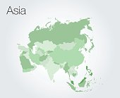 Asia map vector on vector background