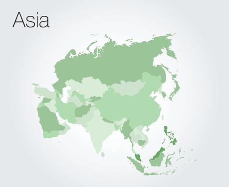 Карта Азии — стоковая векторная графика и другие изображения на тему Азия
