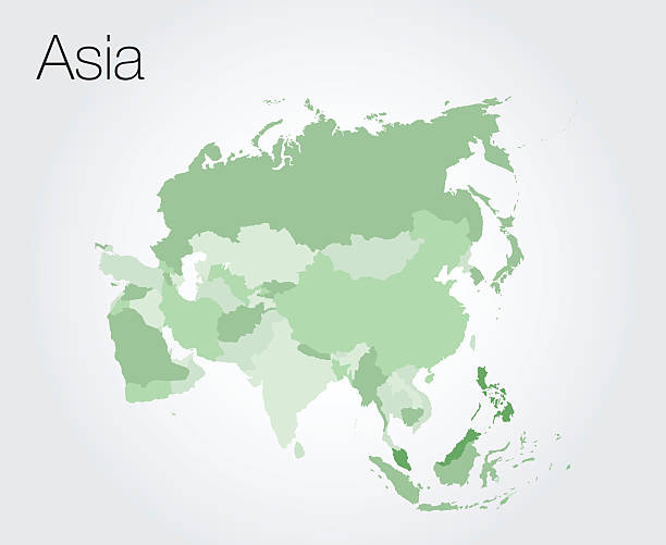 asia map - asya stock illustrations