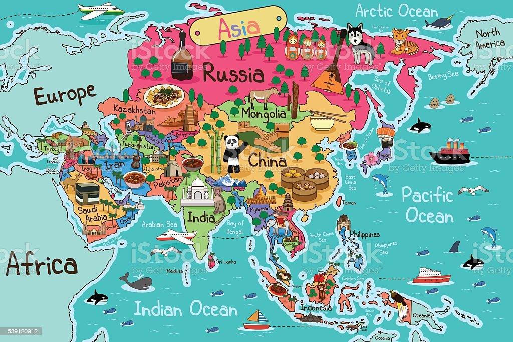 Asia Map vector art illustration