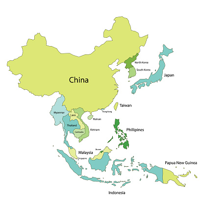 Asia Map With Country Names Stock Illustration - Download Image Now