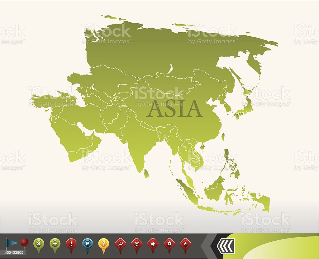 Asia map with navigation icons vector art illustration