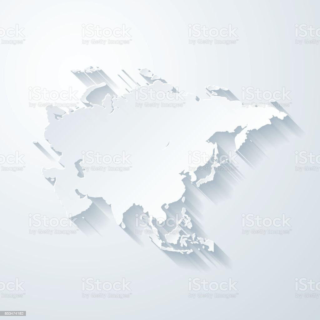 Asia map with paper cut effect on blank background vector art illustration