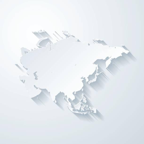 Carte d'Asie avec papier coupe effet sur fond blanc - Illustration vectorielle