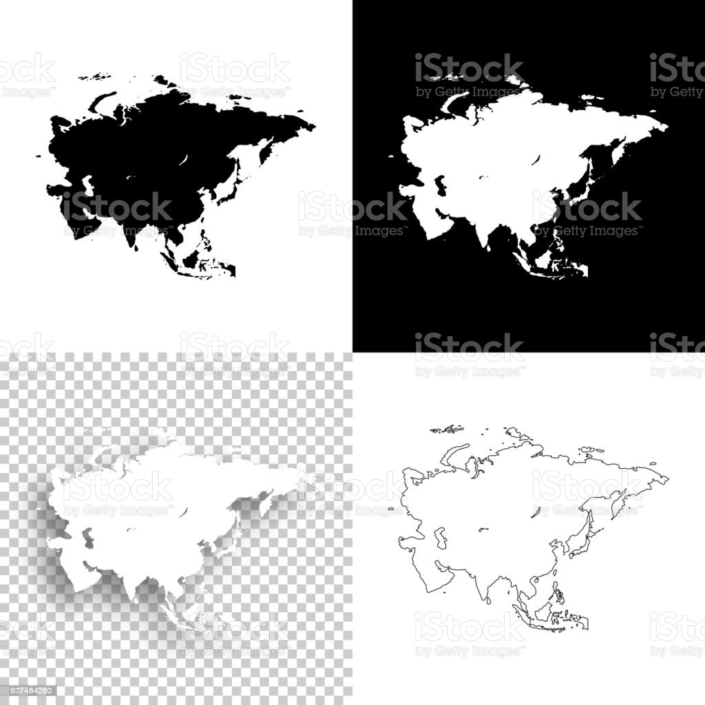 Image of: Asia Maps For Design Blank White And Black Backgrounds Stock Illustration Download Image Now Istock