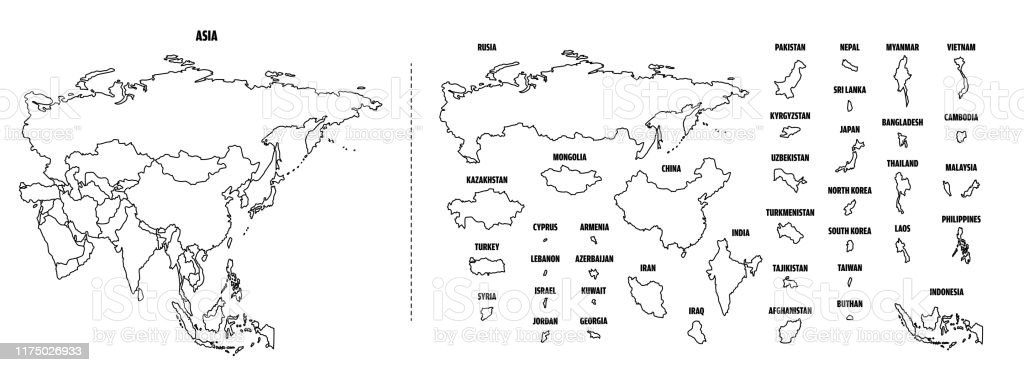 Asia Outline Map With Each Country Isolated Stock ...