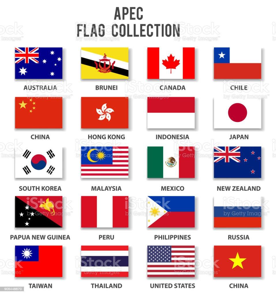 Asia Pacific Economic Cooperation - APEC - Flagge Sammlung-komplett – Vektorgrafik