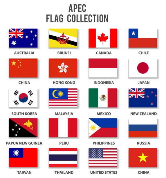 asia pacific economic cooperation - apec - flagge sammlung-komplett - flagge chile stock-grafiken, -clipart, -cartoons und -symbole