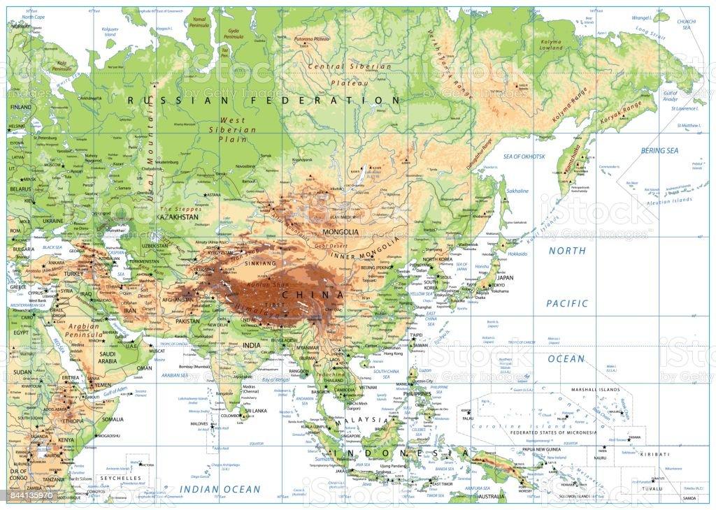 Indonesien Karte Physisch.Physische Karte Asien Isolated On White Stock Vektor Art Und