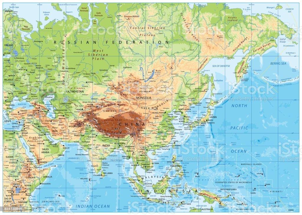 Mapa De Asia Fisico.Ilustracion De Mapa Fisico De Asia Y Mas Vectores Libres De