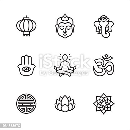 Asia theme related outline vector icon set.  9 Outline style black and white icons / Set #02 Pixel Perfect Principle - all the icons are designed in 64x64 px grid, outline stroke 2 px.  CONTENT BY ROWS  First row of outline icons contains:  Chinese Lantern, Buddha, Ganesha.  Second row contains:  Hamsa symbol, Lotus Position (Guru Meditation), Om symbol.  Third row contains:  Shou character, Lotus flower, Mandala.  Complete Outline 3x3 PRO collection - https://www.istockphoto.com/collaboration/boards/hyo8kGplAEWxASfzDWET0Q